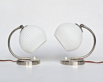 Vintage Table Lamp / Set of Bedside Lamps / Art Deco Era Lighting