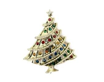 Vintage Christmas Brooch, 1970's Christmas Tree Brooch, Pin, Gold Christmas Tree, Christmas Jewelry, Holiday Jewelry, 1970's Christmas