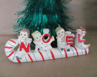 Vintage Christmas Candle Holder, 1950's Relco Noel Candle Holder, Noel Angel on Candy Cane Figurine, Christmas Decor, Mid Century