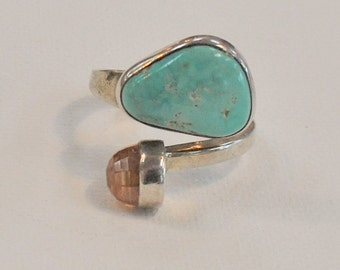 On Layaway for Valerie - Lilly Barrack Turquoise and Topaz stone ring - Sterling Silver