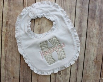 Monogrammed Baby Girl Chevron Bib - Personalized Girl Bib - Appliqued Bib, Personalized Ruffle Bib, Monogram Girls Baby Bib, Monogram Baby