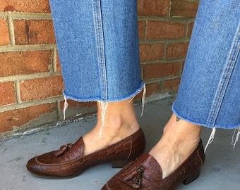 REDUCED!! Brown Sesto Meucci Tassel Alligator leather loafer slipon shoes - 8