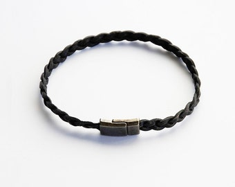 Vintage black leather bracelet