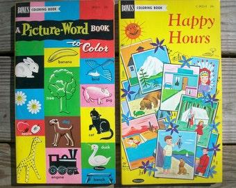 Vintage Bonus Coloring Books Whitman Blank Unused Set of 2