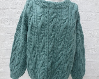 Womens knit clothing wool jumper 1980s sweater green clothes aran top winter fashion vintage handmade gift ladies chunky oversized top knit.