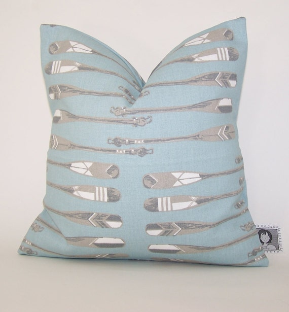 Nautical PILLOW COVER Spa Blue Throw Pillow Case Fits