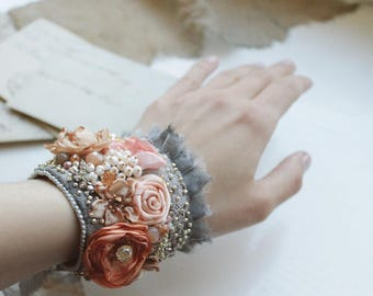 Textile cuff bracelet Delicate bead embroidered cuff Shabby lace cuff Bridal boho flower cuff