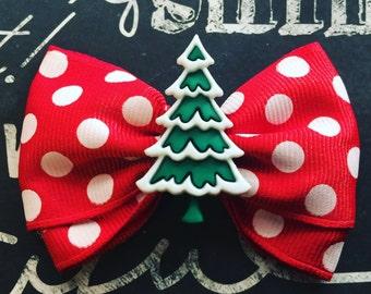 """Bows for Dogs or Girls - 2"""" Holiday Tree Mini Bow - Red Polka Dots - Christmas Trees - Holiday Bows - Dog Bows - Polka Dot Bows - Bows"""