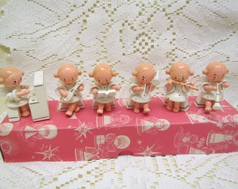 Sevi 6 piece Musical Wooden Angels #6228 ,