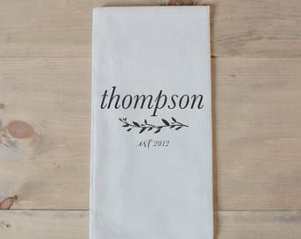 Personalized Tea Towel - Last Name With Laurel