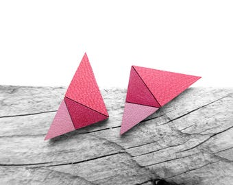 Pink Geometric Leather Post Stud Earrings