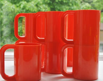 Heller Massimo Vignelli Mugs Orange Set of 9 1970's