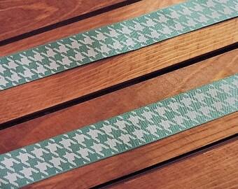 Sea foam green and white herringbone ribbon - 3 yards