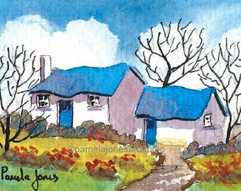 ACEO, Watercolour Print, from my, original watercolour, Country Cottage, Miniature, 3.5ins x 2.5ins,  Art and Collectables