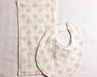 Absorbant Bib and Burp Cloth Set - White, Pink, and Green Crosstitch