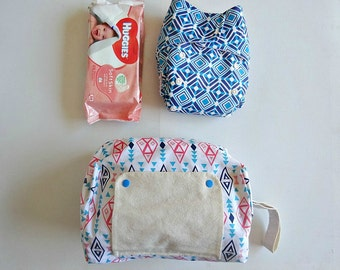 Blue pink diamond tribal pattern modern cloth nappy bag // nappy wallet // nappy caddie // nappy clutch // diaper bag