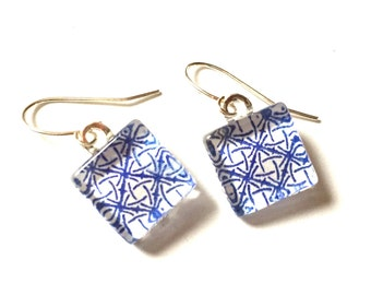 Blue Geometric Glass Tile Earrings Dangle Navy White OOAK Recycled Paper Material Repurposed Envelope Upcycled Silver Drop Jewelry