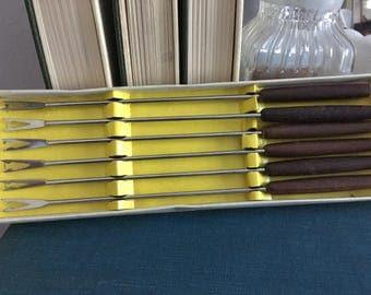 Vintage fondue fork set, fondue forks