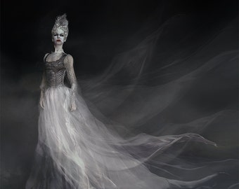 Revenant-photographic Gothic portrait, ghost, Halloween, Gothic, spirit, apparition, bodice, veils, long gown, lace, fairy tale, pompadour