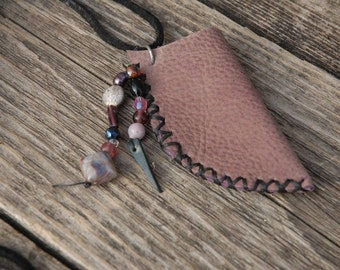 Tribal necklace - Leather necklace - open leather necklace