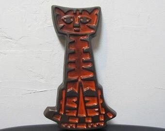 Gabriel Sweden Ceramic Orange Cat 60's Wall Plaque