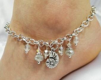 Anklet, Ankle Bracelet, Sea Shell Anklet, Chain Anklet, Sea Shell Anklet White Anklet, Beach Anklet Beach Jewelry Ankle Jewelry Foot Jewelry