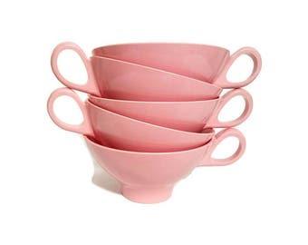 Vintage Pink Melmac Cups Five Boontonware Coffee Mugs Belle Kogan