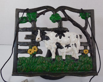 vintage cast iron cow and calf cookbook holder recipe holder book rack book stand black and - Recipe Book Holder
