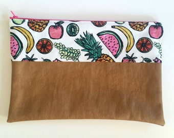 Tutti Fruity Tan Nappy Diaper Carry All Clutch Pouch Wallet
