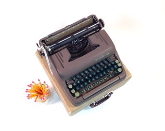 Vintage Smith Corona Silent Typewriter / Brown with Green Keys / Working Portable with Case / Mid Century / 1950s Industrial Office