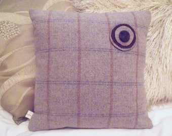 Beautiful Plaid Wool Small Throw Cushion with Flower Pin and Envelope Back