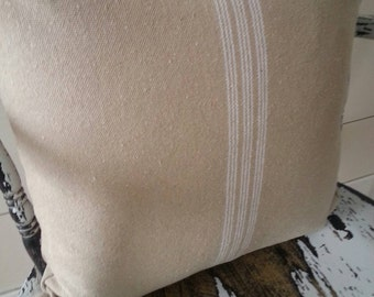 Grain Sack Zippered Pillow Cover/Tan Fabric/Cream Stripe