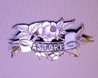 """Vintage Silver Souvenir """"Astore"""" Brooch"""