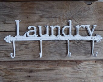 LAUNDRY = 4 Prong = WHITE Distressed HOOK Farmhouse Mud Room Iron Metal Wall Ornate Hanger - Key Holder - Bathroom - Bedroom - Laundry