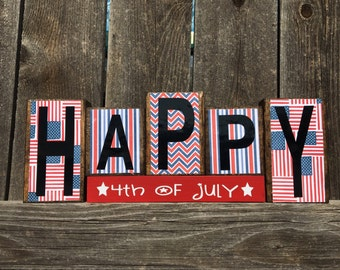4th of July wood blocks-Happy 4th of July