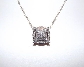 14k White Gold Designer OTC 2 ct Diamond Pendant Necklace-On Sale Now!