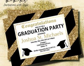 GLITTER Graduation Invitation Black and Gold Graduation Announcement Graduation invitation High School Graduation College Graduation invite