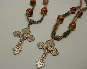 Hemp and Glass bead His and Hers Necklaces set with Crucifix (S4)