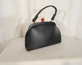 Vintage 1950s Handbag / 50s Small Black Purse / 1950s Rockabilly Handbag / Vinyl Black Handbag Black Purse Lucite