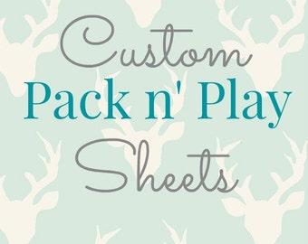 CUSTOM Pack n' Play, Play Yard Sheet, Choose your fabric, Designer cotton baby sheets