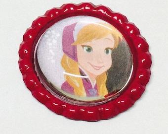 Princess Anna Bottlecap Pin Back Button/Keychain/Bracelet/Necklace/Retractable Badge Reel/Ring Disney Frozen