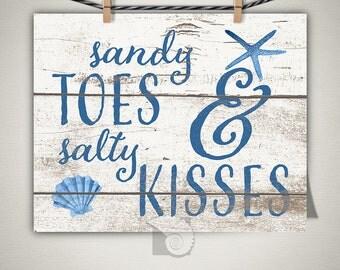 Coastal Wall Art, Sandy Toes & Salty Kisses Photo Print, Beach House Decor, Gifts Under 20, Housewarming gift, wall art, beachy, sea shells