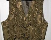 Men's vest -size large - suit vest -gold and brown vest - paisley design - suit vest - men's clothing