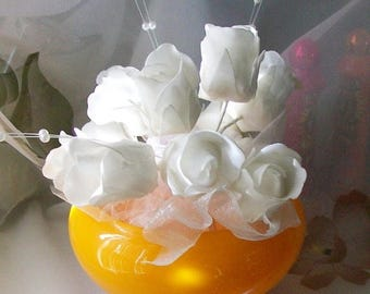 Vintage orange glass vase - orange round vase - glass vase - retro vase - flower vase - 6 x 5 vase - home decor - orange vase - painted vase