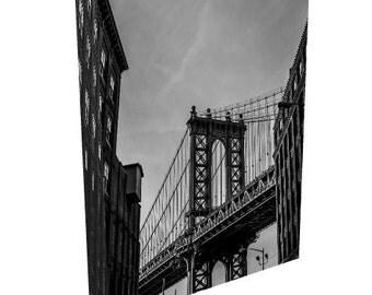 New york photography nyc decor manhattan bridge manhattan brooklyn decor loft apartment large wall art canvas gallery wrap black and white