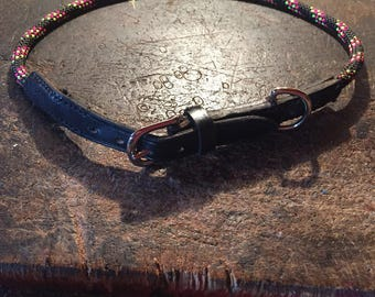 Rope and Leather dog collar Made To Order in your dogs size