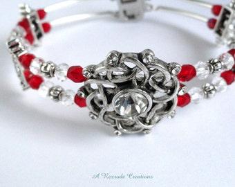 Beaded Bangle Bracelet Two Strand Memory Wire Bracelet Wedding Bracelet Gift for Her Girlfriend Beaded Jewelry Formal Jewelry Fashion