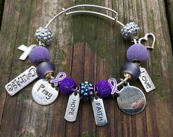 Relay for Life Purple Bead Charm Bracelet