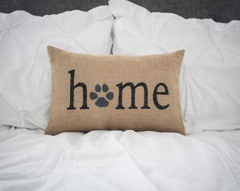 Home Paw Print Decorative Pillow Decor Pillow Simple Pillow Pet Love Dog Love Cat Love Pet Pillow Dog Pillow Cat Pillow burlap 14x9 pillow