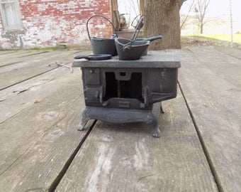 Antique Miniature Cast Iron Stove With Accessories Some Pieces Missing B19